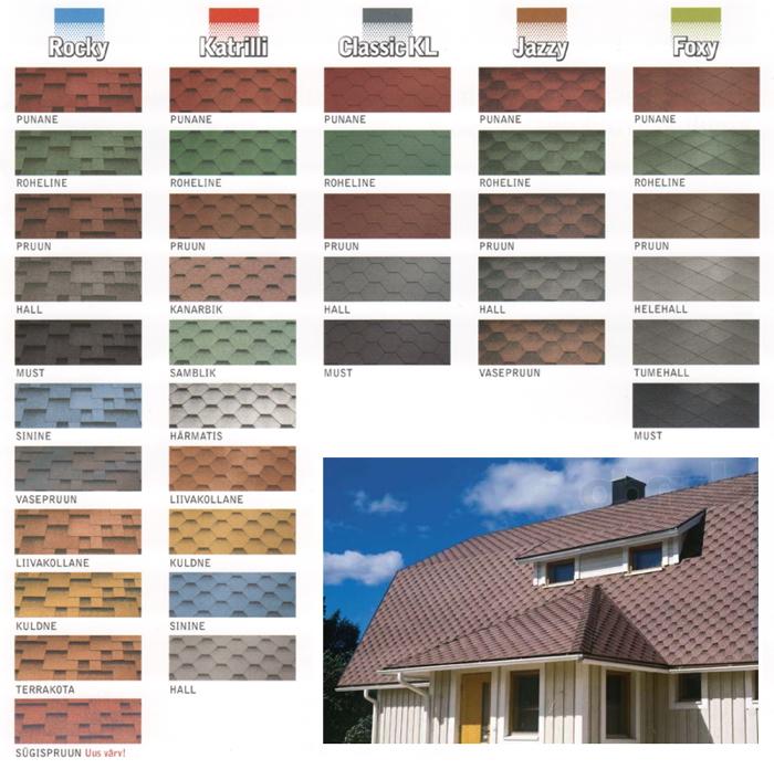 Katepal katuseplaadid värvitabel